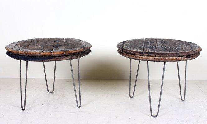tables basses industrielles vintage avec couvercles en chene pour tonneau de whisky set de 2
