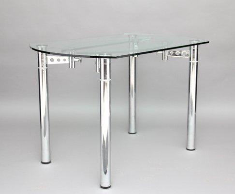 table de salle a manger vintage en chrome et verre