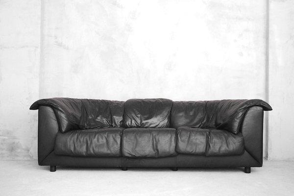 3 seater sofa black leather zanotta alfa by de sede 1980s for sale at pamono 1
