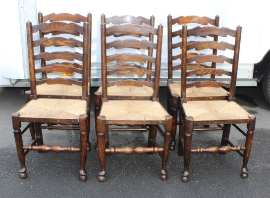 ladderback dining chairs aqua blue adirondack oak 1940s set of 6 for sale at pamono 1