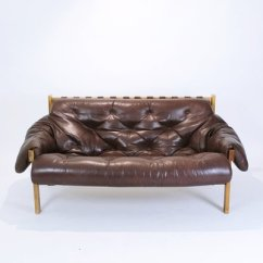 Tufted Brown Leather Sofa Wood Bed Mid Century Modern Distressed 1970s For Sale 1
