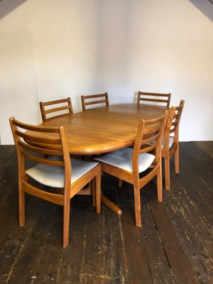 table and 6 chairs replacement chair feet mid century danish teak extending dining for sale 2