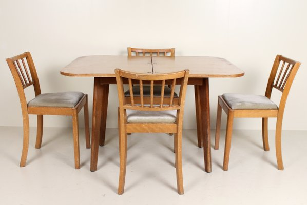 vintage oak dining chairs design chair miniature table and 4 for sale at pamono 1