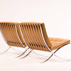 Barcelona Chair Leather And Half Cognac Chairs By Ludwig Mies Van Der Rohe For Knoll 1988 Set