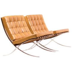 Barcelona Chairs For Sale Hooker Office Cognac Leather By Ludwig Mies Van Der Rohe Knoll 1988 Set