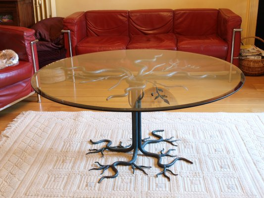 vintage brutalist wrought iron tree coffee table