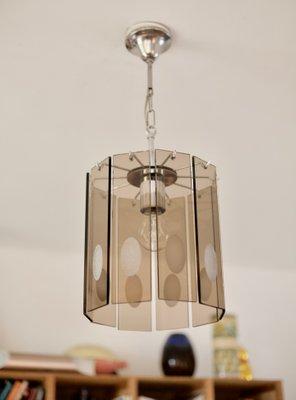 Lampadario anni 70 vetro e acciaio lamp vintage modernariato design. Lampadario In Vetro Fume E Acciaio Italia Anni 70 In Vendita Su Pamono