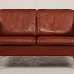 Red Leather Two Seater Sofa Blue Dot Sleeper Review Danish Brown 1960s For Sale At Pamono 1
