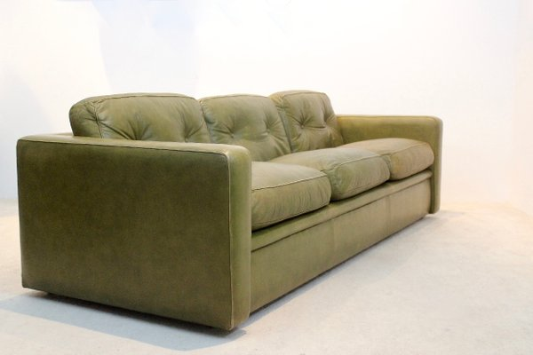 olive green leather three