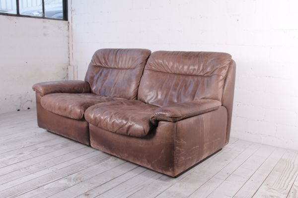 de sede sleeper sofa extra long chaise leather ds 66 from 1970s for sale at pamono 1