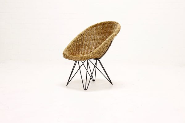 steel lounge chair rio backpack beach mid century rattan and wire 1960s for sale at pamono 1