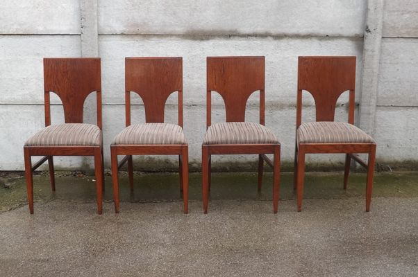 vintage oak dining chairs eiffel tower chair 1940s set of 4 for sale at pamono 1