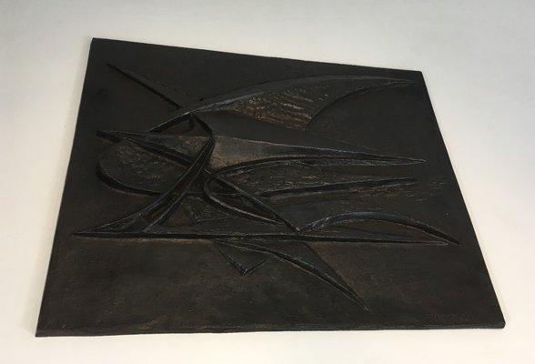 plaque de cheminee moderniste en fer forge par g lecoff 1950s