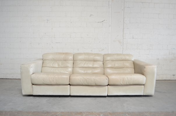 vintage ds105 ecru white leather sofa from de sede