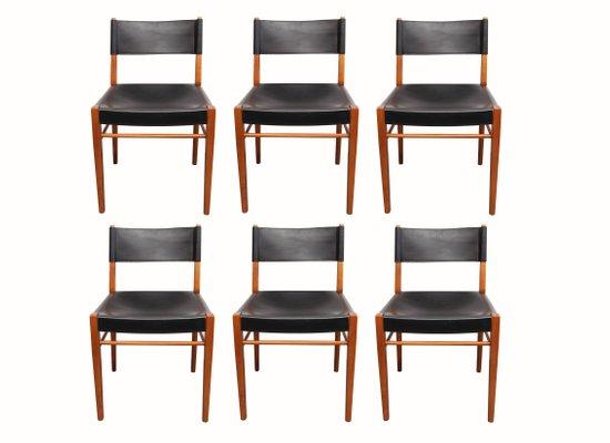 4 sedie in legno e paglia di vienna, anni '60. Sedie Da Pranzo In Legno Di Ciliegio E Pelle Anni 60 Set Di 6 In Vendita Su Pamono