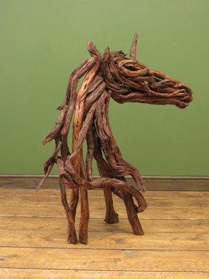 vintage driftwood unicorn sculpture