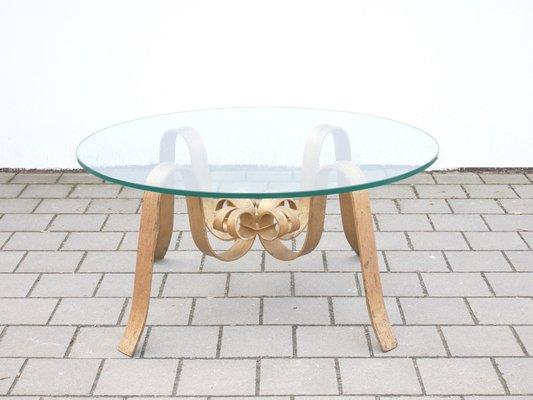 table basse en fer forge dore en verre 1960s
