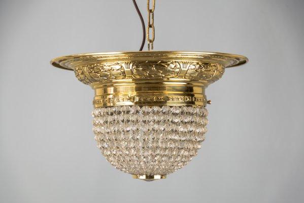 plafonnier art nouveau avec perles en verre 1900s