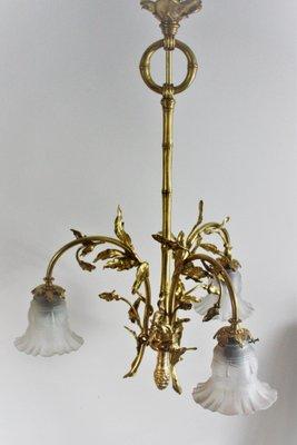 lustre art nouveau en laiton et verre 1900s
