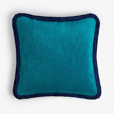 happy pillow in teal