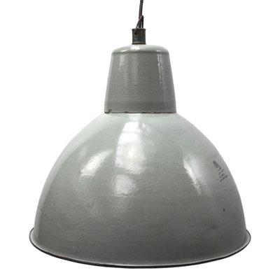 Vintage Grey Enamel Industrial Pendant Light For Sale At Pamono