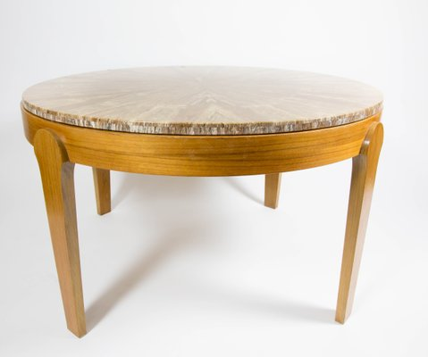 round stone top coffee table 1970s