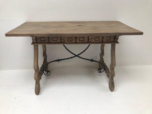 table antique en chene blanchi france