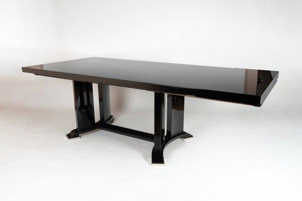 table de salle a manger extensible laquee noir 1930s
