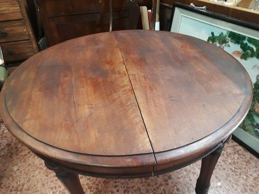 table ronde extensible antique en merisier italie 1850s