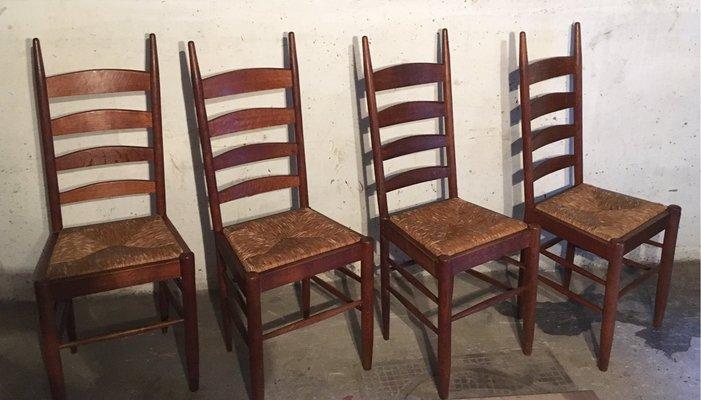 4 sedie in legno e tessuto set 4 sedie vintage anni '60. Sedie Da Pranzo In Legno E Paglia Francia Anni 60 Set Di 4 In Vendita Su Pamono