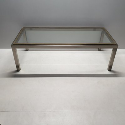 vintage chrome brass coffee table with a glass top 1980s