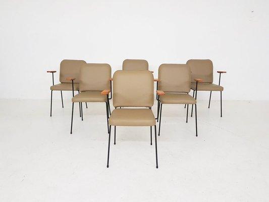 chaises de salle a manger en similicuir beige et metal 1960s set de 6