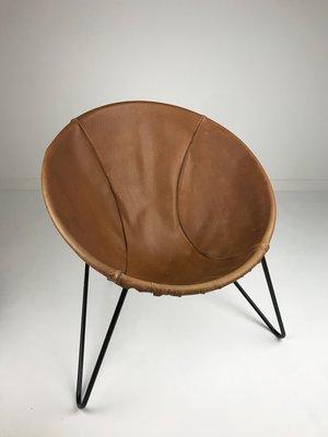 fauteuil mid century en cuir de ikea suede 1950s