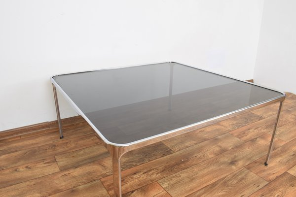 italian chrome plated and smoked glass coffee table 1970s