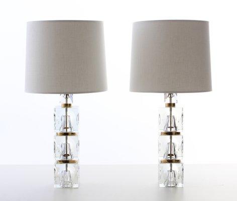 lampes de bureau scandinaves avec pied en verre par carl fagerhult pour orrefors 1960s set de 2