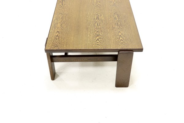 asymmetrical solid wenge wood coffee table 1960s