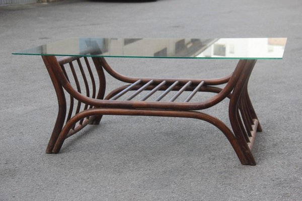 italian brown bamboo glass rectangular coffee table 1960s