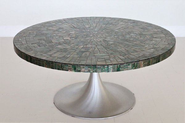table basse tulipe avec mosaique en verre par heinz lilienthal 1960s