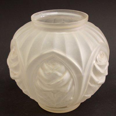 franzosische geometrische vintage art deco vase aus geatztem glas 1930er