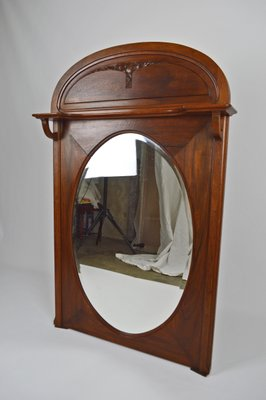 miroir de cheminee antique art nouveau en noyer sculpte france 1910s