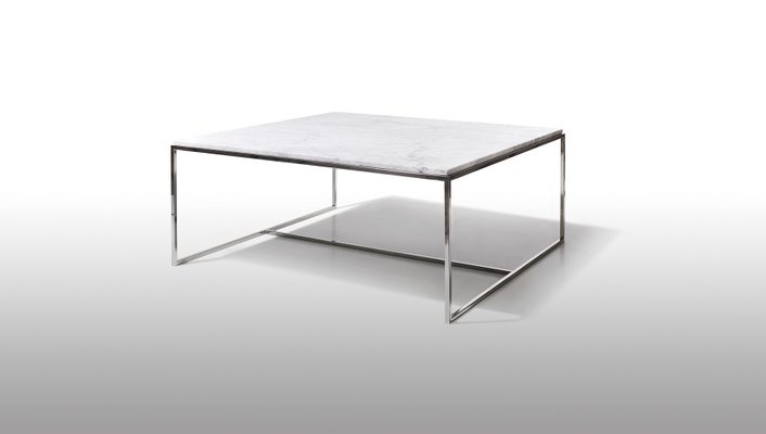 stainless steel white marble square coffee table by jacobo ventura