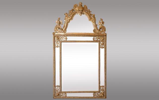 miroir regence ancien en bois dore sculpte france