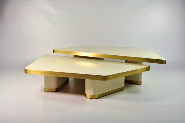 white rock crystal coffee tables by francois xavier turrou for ginger brown set of 2
