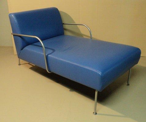 italian blue vinyl chaise lounge from ikea 1980s