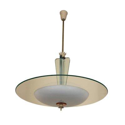lampadario a 12 braccia in ottone e vetro di gio ponti : Glass Ceiling Lamp By Gio Ponti For Fontana Arte 1930s For Sale At Pamono
