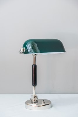 lampe de bureau art deco en nickel plaque laiton annees 20
