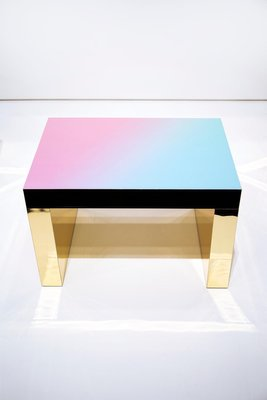 light blue rose polished aluminium gaby gradient coffee table by chapel petrassi