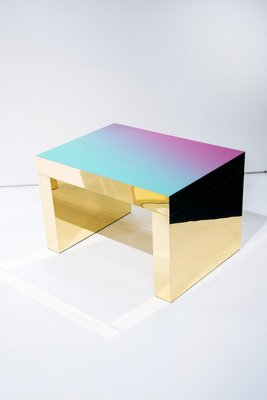 violet azure polished aluminium gaby gradient coffee table by chapel petrassi