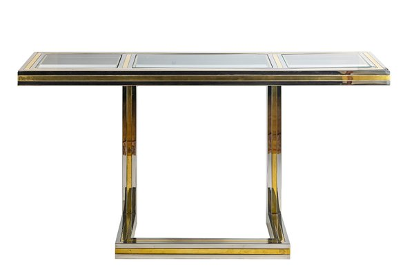 vintage italian brass chrome and glass console table