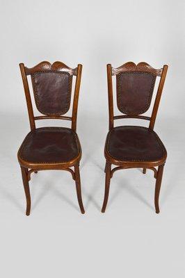mobilier de salon art nouveau antique en bois courbe et cuir de fischel set de 5